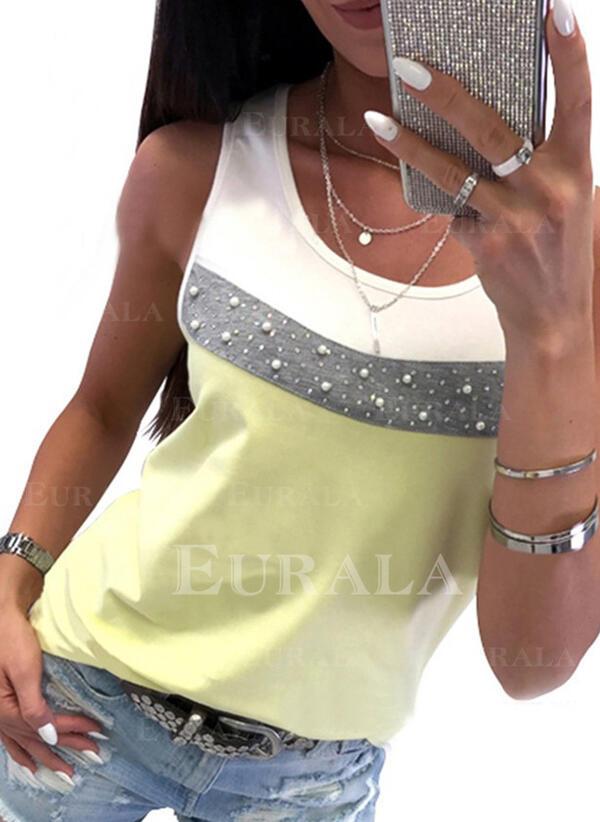 Bloco de Cor Com pedraria Gola Redonda Sem Mangas Casual Camisetas regata