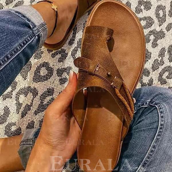 Dámské PU Placatý podpatek Sandály Boty Bez Podpatku S otevřenou špičkou Pantofle Prst prst S Vydlabaný Kris Kros obuv