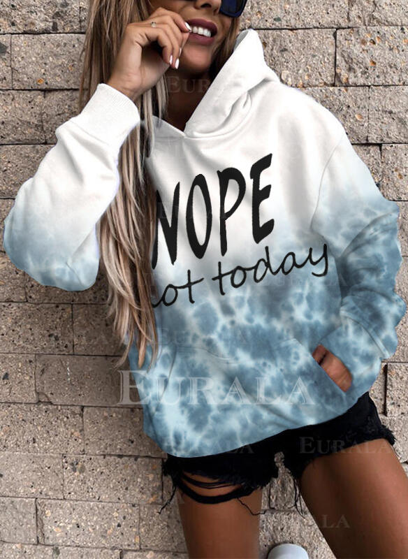 Print Tie Dye Figure Pockets Long Sleeves Hoodie