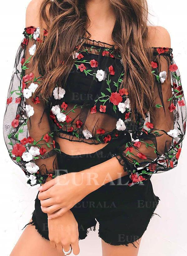 Květiny Odhalená ramena Rukávy do zvonu Neformální Sexy Bluze