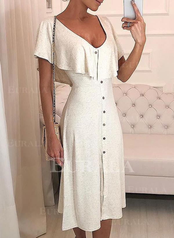 Jednolita Krótkie rękawy W kształcie litery A Łyżwiaż Mała czarna/Casual/Elegancki Midi Sukienki