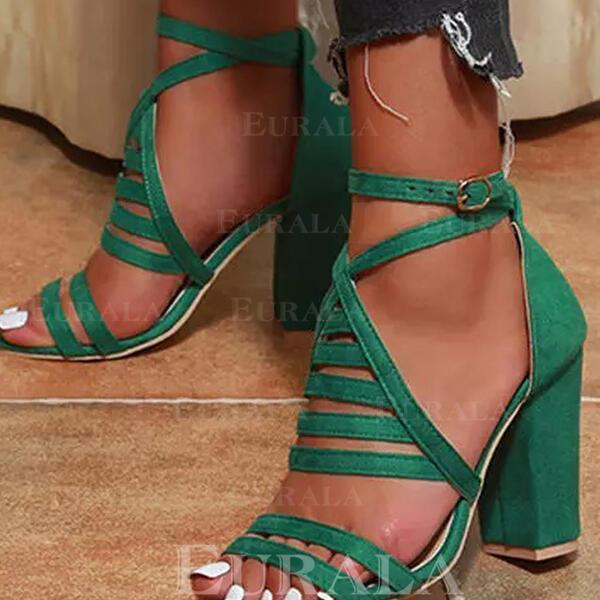 Сандалии Насосы Peep Toe Круглый носок с пряжка Выдолбить Сплошной цвет обувь