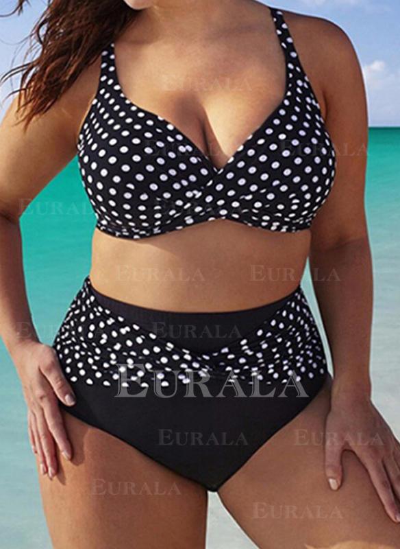 Groszki Wysoki stan W prążki Elegancki Duży rozmiar Bikini Stroje kąpielowe