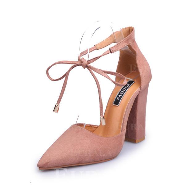 Bayanlar Süet Tıknaz Topuk Pompalar Kapalı Toe Ile Toka Bağcıklı ayakkabı ayakkabı