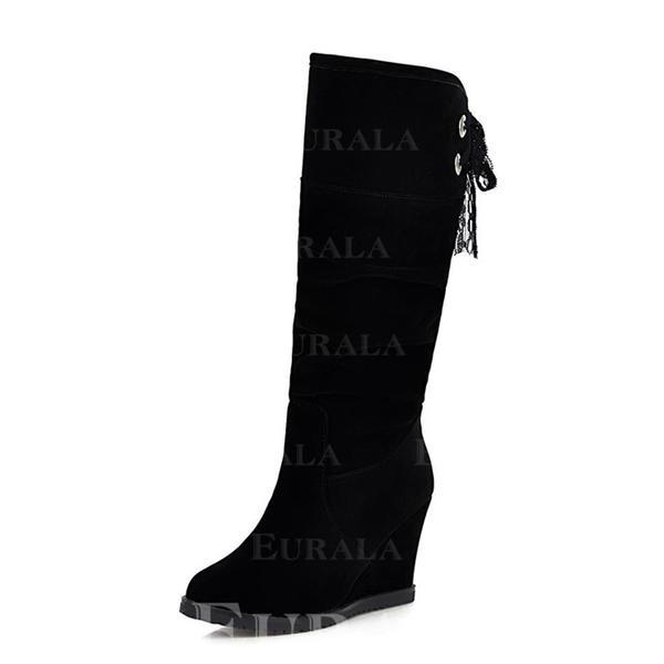 Kvinnor Mocka Kilklack Halva Vaden Stövlar skor