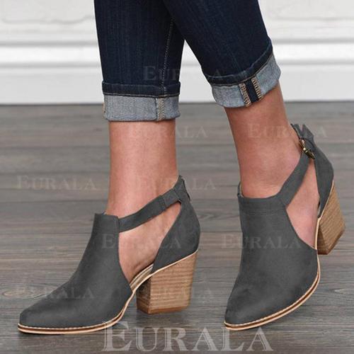 Mulheres PU Salto robusto Bombas Fechados com Fivela sapatos