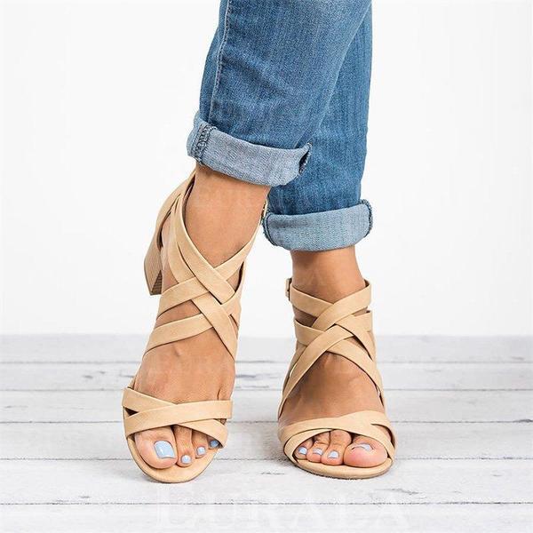 Kvinnor PU Tjockt Häl Sandaler Pumps Peep Toe Klackar med Spänne skor