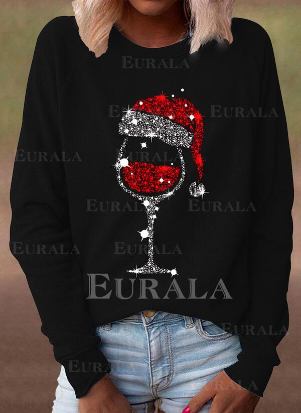 Lentejuelas Cuello redondo Manga Larga Casual Navidad Camisetas
