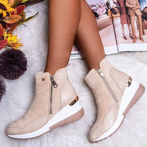 Women's Suede Chunky Heel Ankle Boots Snow Boots Round Toe With Zipper Splice Color Solid Color shoes