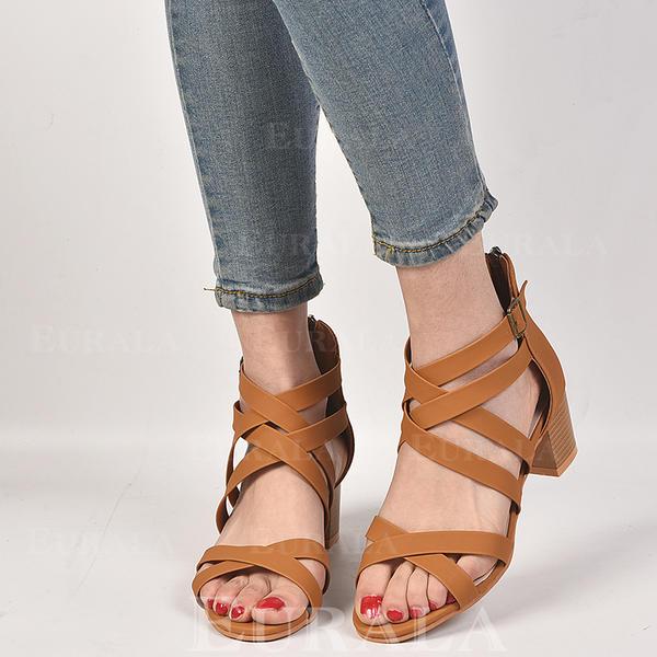 Kvinner PU Stor Hæl Sandaler Titte Tå med Spenne sko