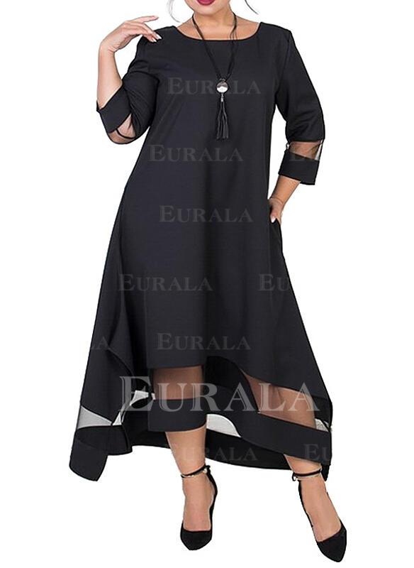 Jednolita Rękawy 3/4 Koktajlowa Mała czarna/Elegancki Midi Sukienki