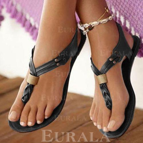 PU Flat Hæl Sandaler Flate sko Titte Tå Flip-Flopper med Elastisk bånd sko