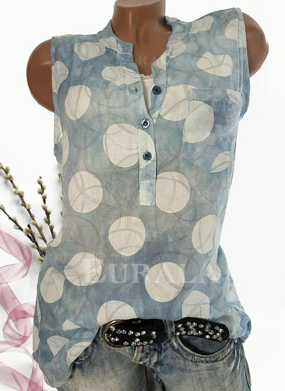 Impresión Cuello en V Sin mangas Con Botones Casual Blusas
