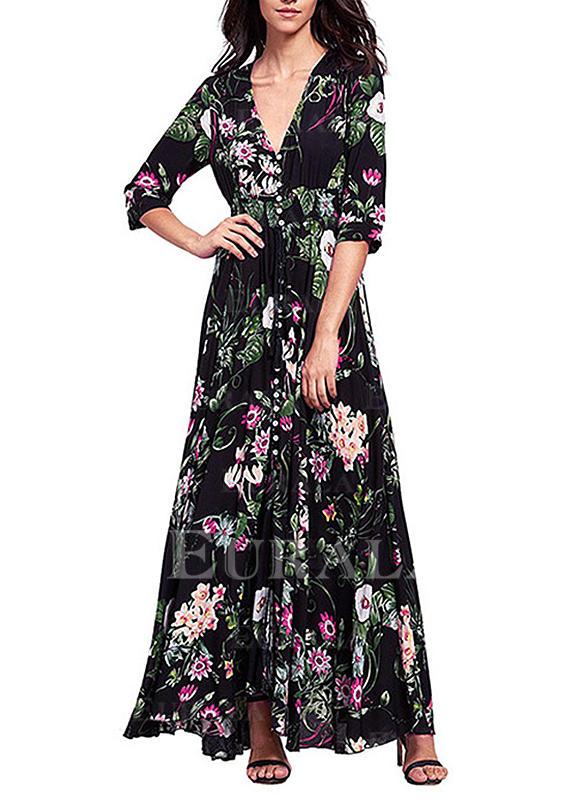 Imprimeu/Floral Mâneci Lungi De schimb Casual/Boho Maxi Elbiseler