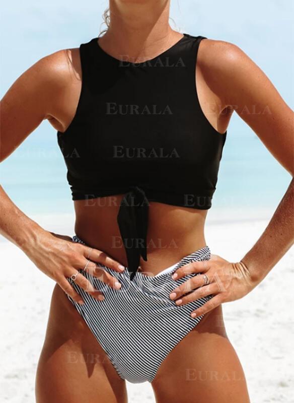 нашивка Высокая талия Шею Высокая шея сексуальный марочный Bikinis купальников