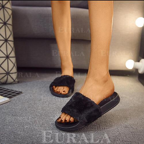 Bayanlar Kumaş Düz topuk Terlik Ile Kürk ayakkabı