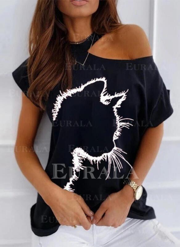 Рисунок животного Одно плечо С коротким рукавом Повседневная Блузы