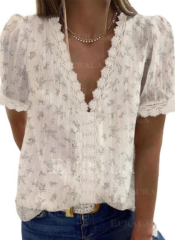 V шеи С коротким рукавом Повседневная элегантный Блузы