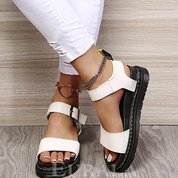 PU Плоский каблук Сандалии Квартиры Платформа Peep Toe с пряжка Выдолбить обувь