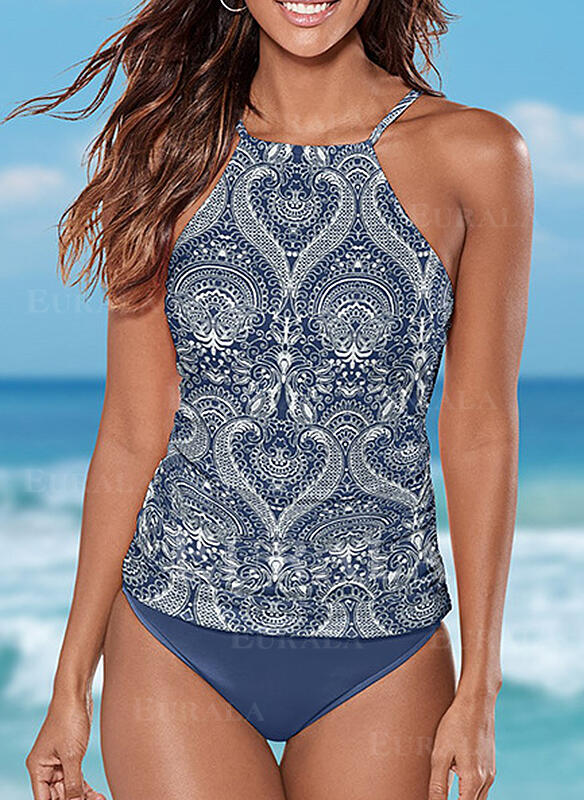 Floral Halter Attractive Boho Tankinis Swimsuits