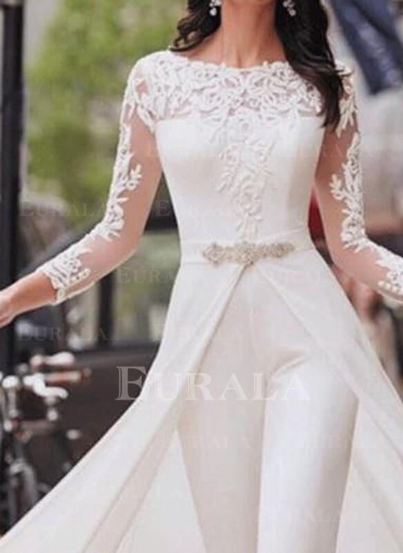 Lace Solid Round Neck 3/4 Sleeves Casual Elegant Party Jumpsuit