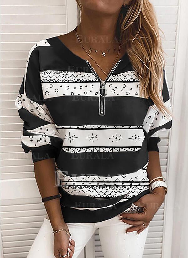 Print V-Neck Long Sleeves Sweatshirt