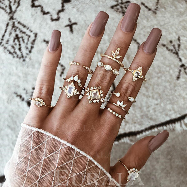 Unique Exquisite Stylish Alloy Jewelry Sets Rings (Set of 12 pairs)
