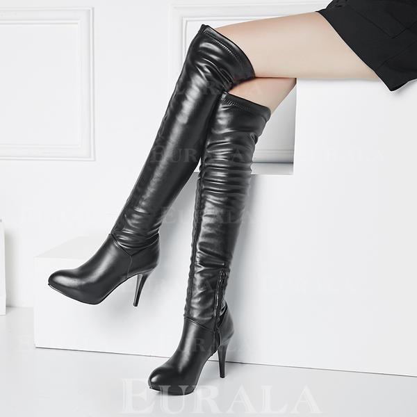 Bayanlar PU Topuklu ayakkabı Pompalar platform Diz Çizmesi Üzerine Ile Fermuar ayakkabı