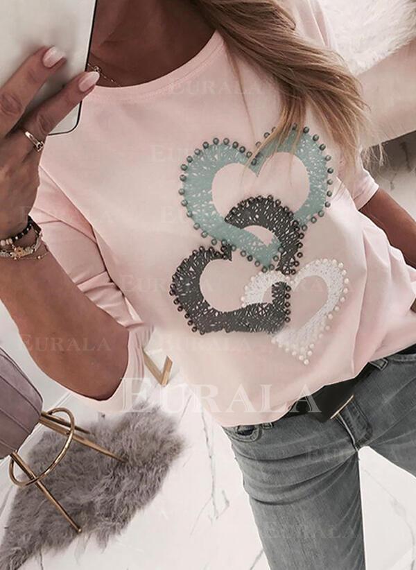 Print Beaded Hjärta Round Neck Långa ärmar Fritids T-shirts