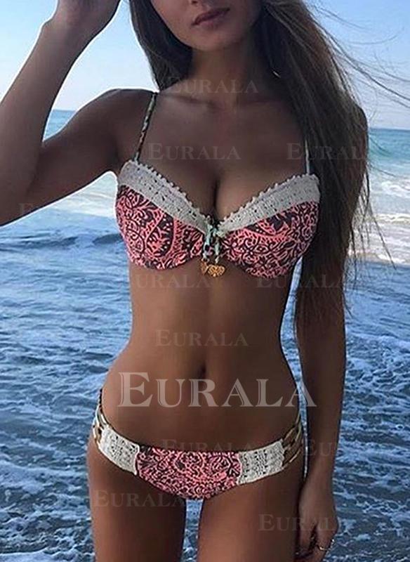 string Tropikalny druk W prążki Seksowny Bikini Stroje kąpielowe