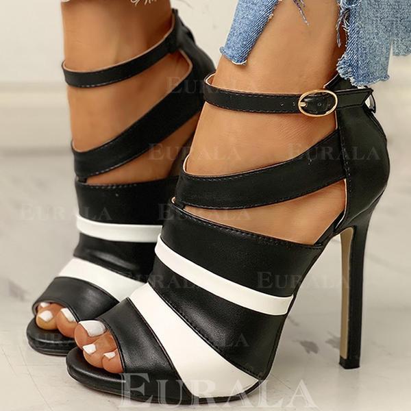 Mulheres PU Salto agulha Bombas Peep toe com Fivela sapatos