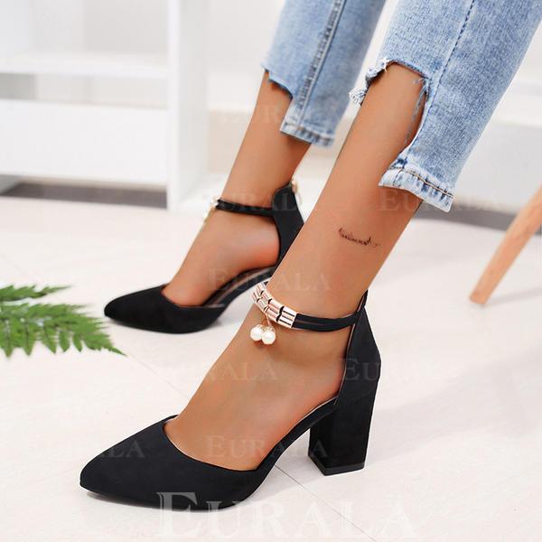Mulheres PU Salto robusto Bombas com Pérola Imitação Zíper sapatos