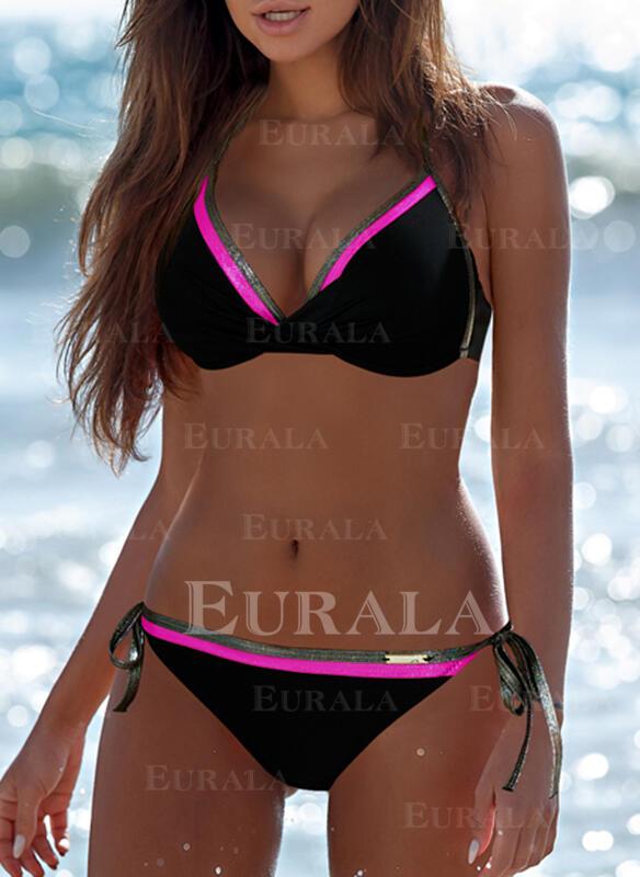 Niski stan Kolor splotu Wiązany na szyi Seksowny Elegancki Modny Bikini Stroje kąpielowe