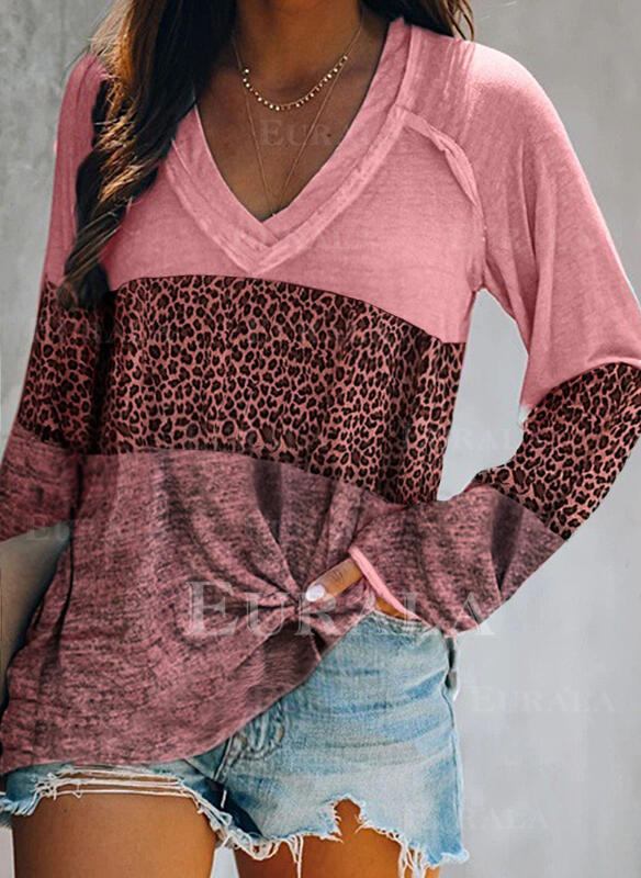 Color Block Leopard V-Neck Long Sleeves Casual T-shirts