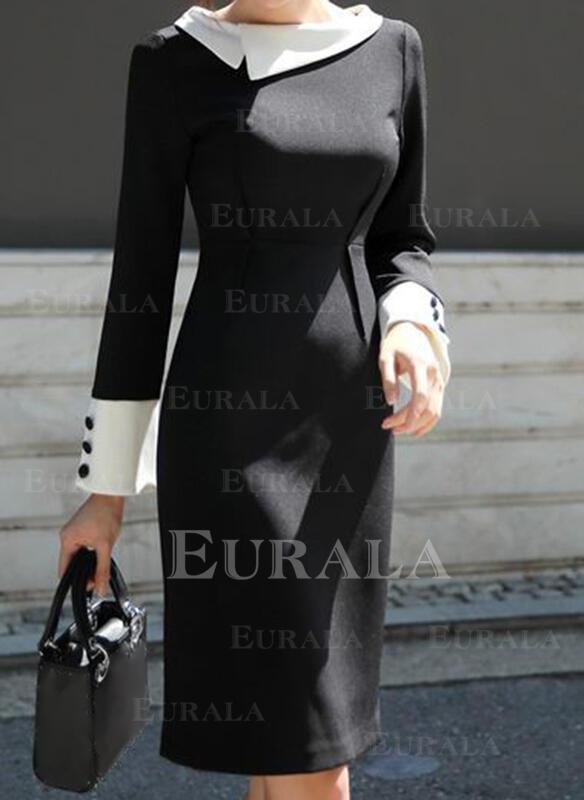 Solid Mâneci Lungi Conică Până la Genunchi Casual/Elegant Elbiseler