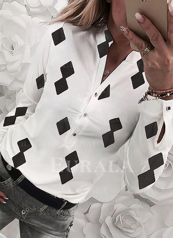 Imprimeu Decolteu în V Mâneci Lungi Cu nasturi Comodă Cămaşă Tip Bluză