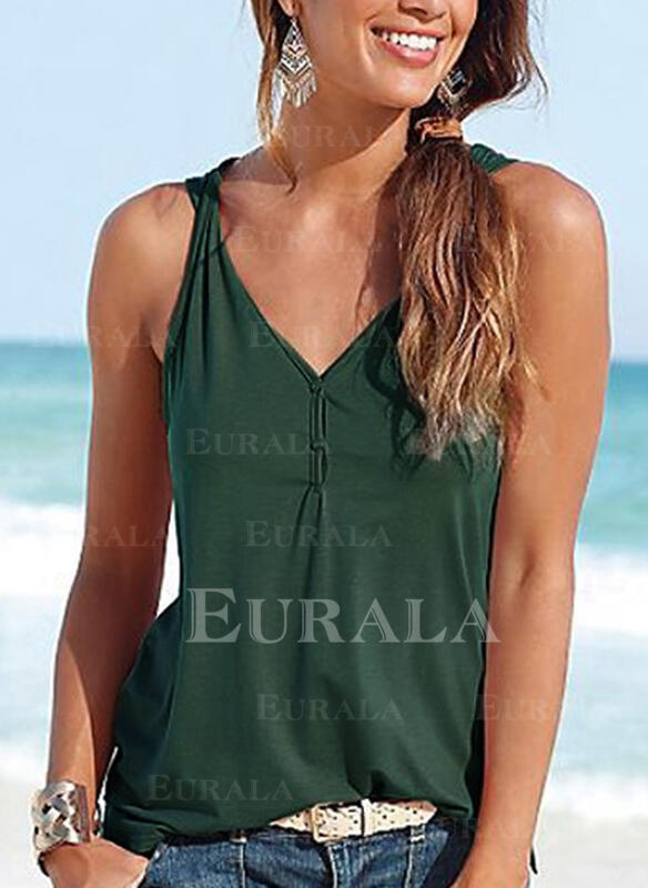 Solid V-hals Uten ermer Button up Casual Sexy Tank topper