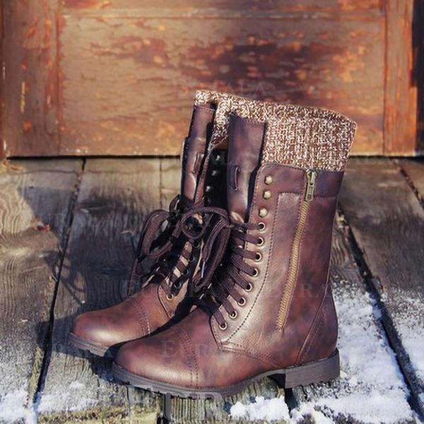 Kvinner Lær Lav Hæl Støvler med Blondér sko
