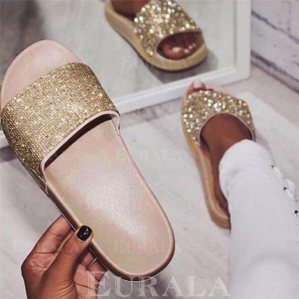 Kvinnor PU Flat Heel Tofflor med Strass skor