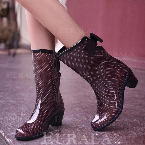 Női PVC Chunky sarok Csizma Mid-Calf Csizma Gumicsizma -Val Csokornyakkendő cipő