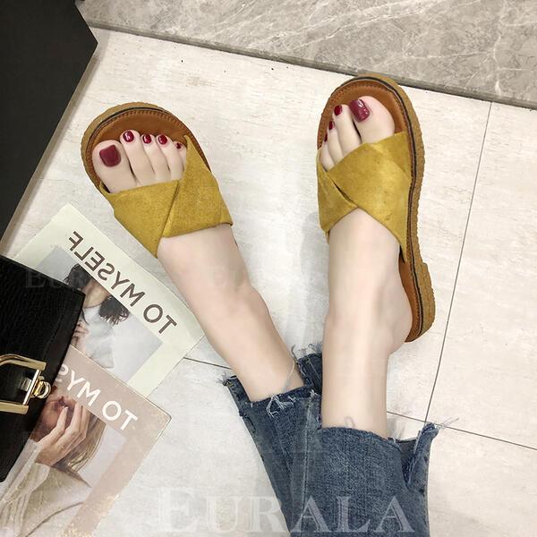 Bayanlar PU Düz topuk Sandalet Flats Terlik ayakkabı