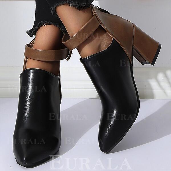 Kvinner PU Stor Hæl Ankelstøvler med Spenne Glidelås sko