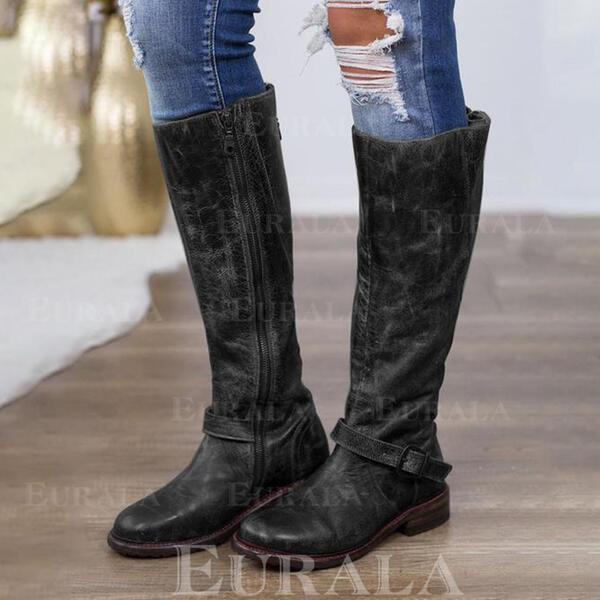 Mulheres PU Salto baixo Botas Bota no joelho com Zíper sapatos