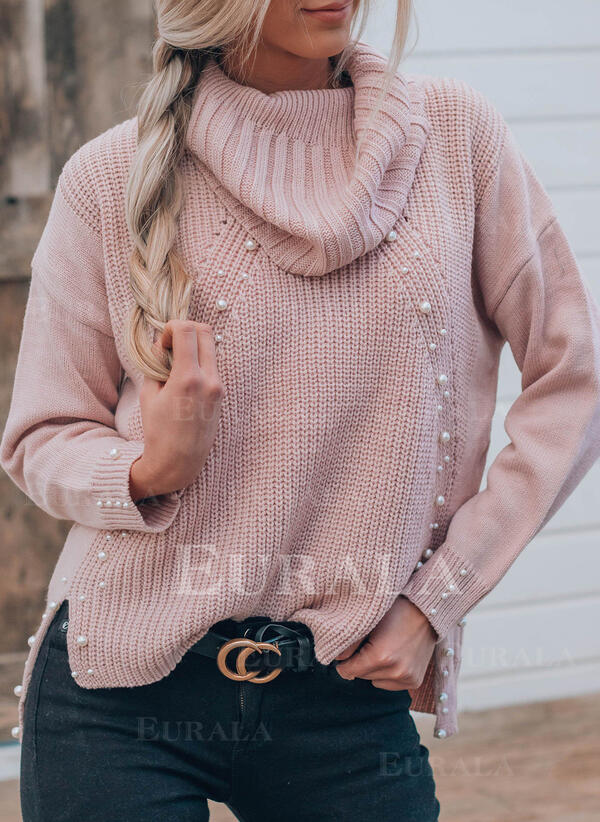 Solid Beaded Turtleneck Casual Sweaters