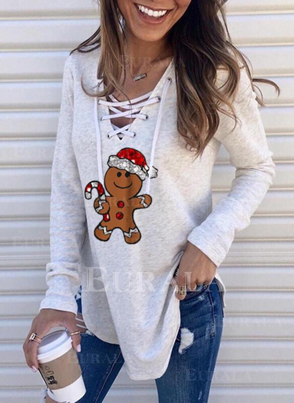 Print Sequins V-Neck Long Sleeves Christmas Sweatshirt