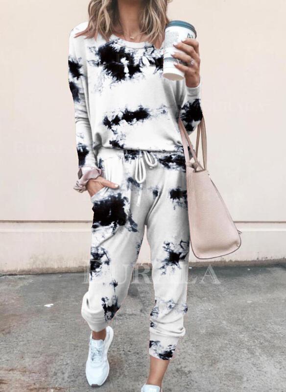 Plus Size Tie Dye Drawstring Casual Sporty Suits