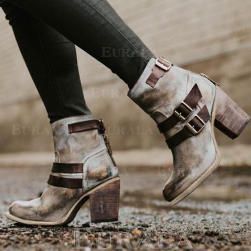 Dla kobiet PU Obcas Slupek Czólenka Zakryte Palce Kozaki Z Klamra Zamek błyskawiczny obuwie