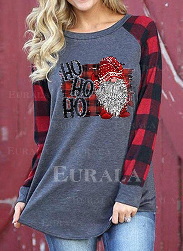 Print Figure Plaid Round Neck Long Sleeves Casual Christmas T-shirts