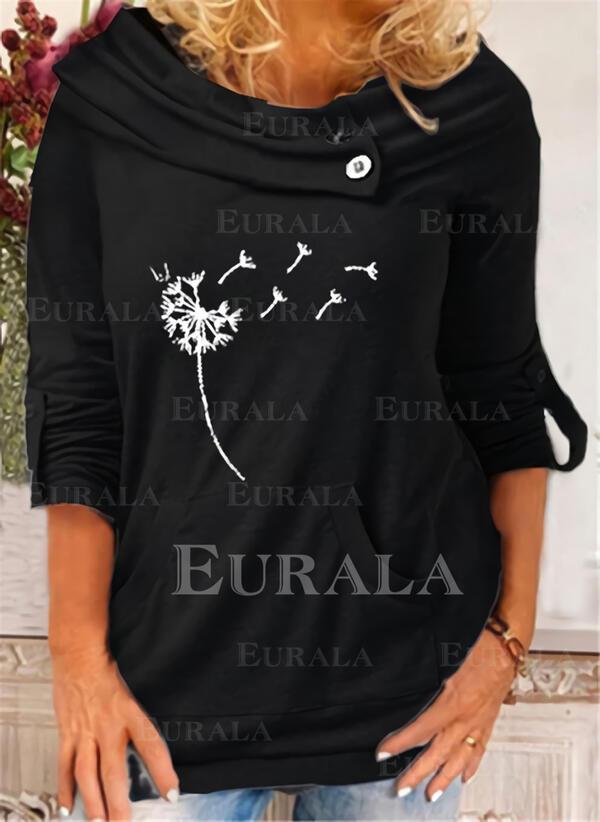 Print Dandelion Round Neck Long Sleeves Sweatshirt