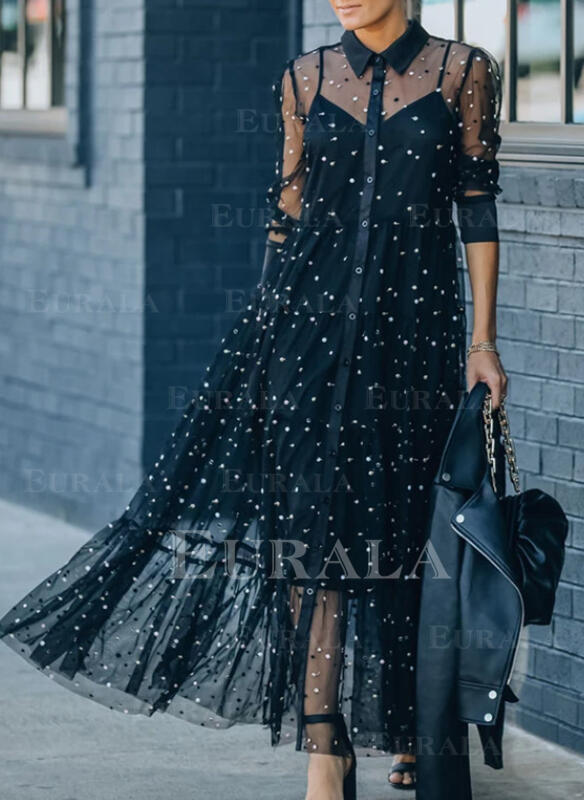 Solid/Beaded Long Sleeves Shift Elegant Maxi Dresses